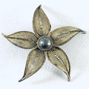 Vintage Silver Filigree Flower Petal Brooch Made In Palestine